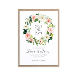 Blush and Gold Save the Date Cards, Pink Watercolour flowers, Blush Wedding, 10 Pack