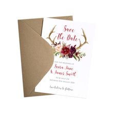 Boho Floral Antler Save the Date Cards, Rustic Wedding Invitation, Floral Wedding Invitation, Red Rose, Rustic Country, 10 Pack