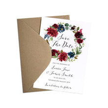 Burgundy, Navy & Blush Floral Save the Date Cards, Burgundy Navy Invite, Rustic Floral, Blush Wedding Invite, Boho Floral Wedding, 10 Pack