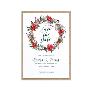 Winter Rose Save the Date Cards, Christmas Wedding, Festive Wedding, Holly Wreath, Poinsettia, 10 Pack