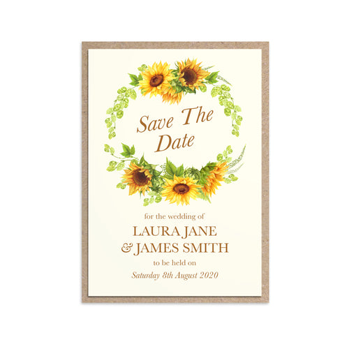 Rustic Sunflower Save the Date Cards, Rustic Wedding, Country Wedding Invitation, Sunflowers, Sunflower Invitation, 10 Pack