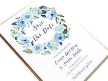 Blue Floral Save the Date Cards, Blue Watercolour flowers, Baby Blue, Pastel Blue Wedding, 10 Pack