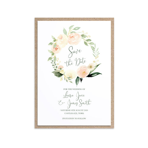 Blush Floral Save the Date Cards, Blush Wedding, Pink Flowers, Blush Ivory, Botanical, Modern Floral Invitations, 10 Pack