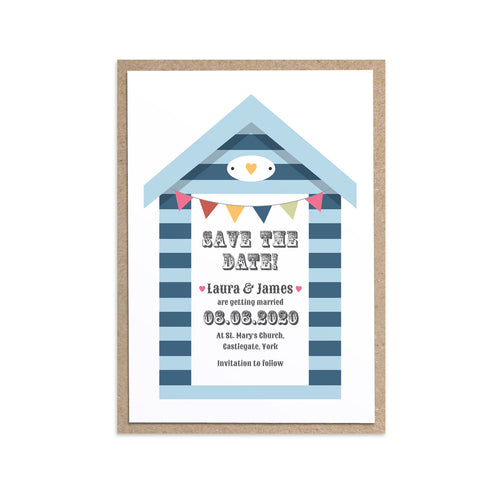 Beach Hut Save the Date Cards, Beach Wedding, Seaside Wedding, Bunting, Nautical Wedding, Colourful Beach Huts, Coastal Wedding, 10 Pack