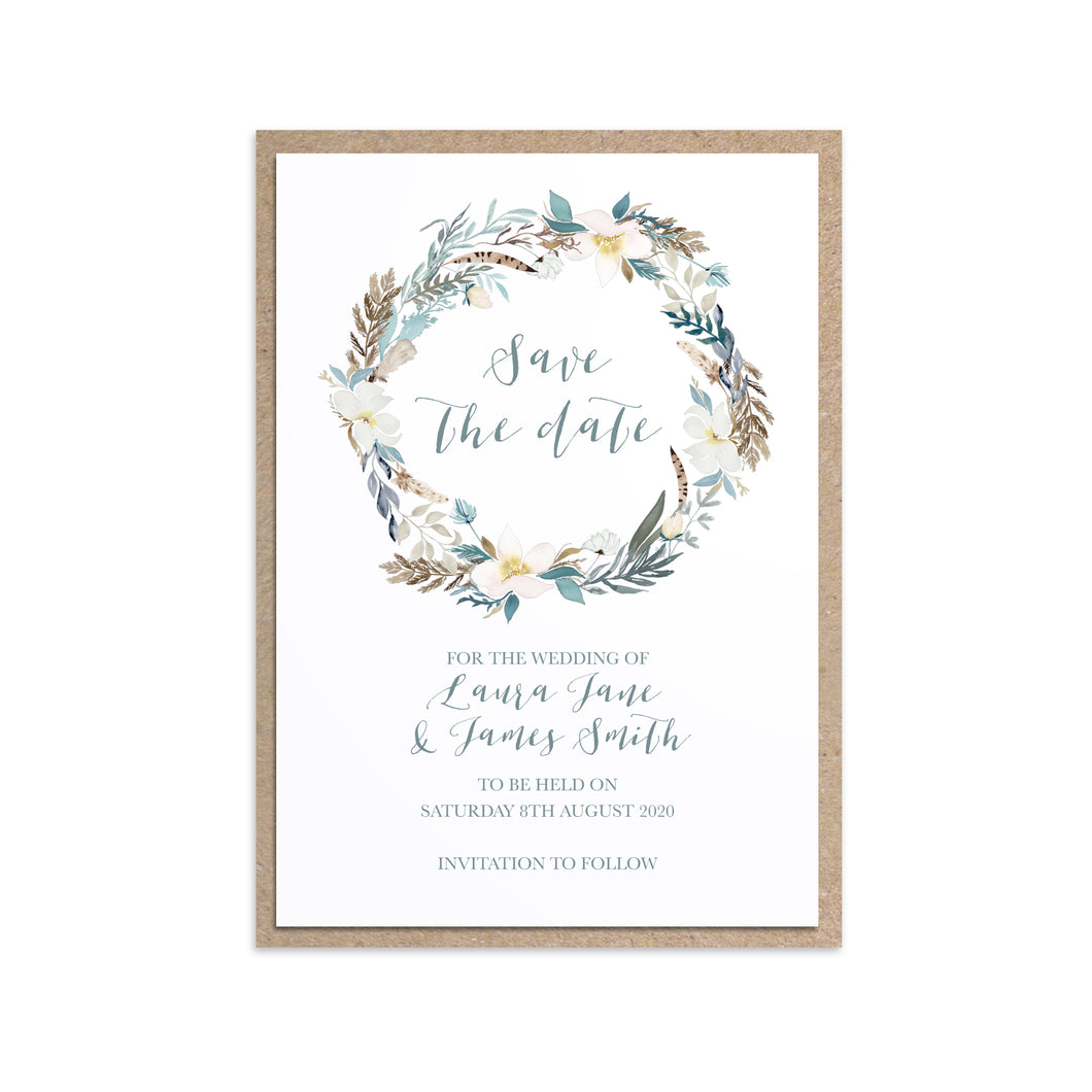 Winter Foliage Save the Date Cards, Ice Blue Wedding, Winter Wedding, Light Blue, Frozen Wedding, 10 Pack