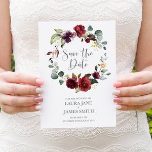Red and Gold Save the Date Cards, Ruby Red, Burgundy, Blush, Red Floral, 10 Pack
