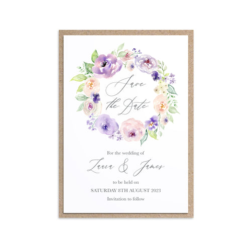Lilac and Blush Save the Date Cards, Purple Wedding, Lilac Wedding, Blush, 10 Pack