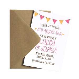Summer Fair Save the Date Cards, Bunting Invitations, Bunting Wedding, Cute Bunting, 10 Pack