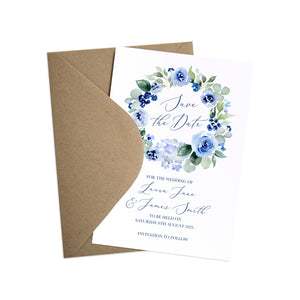 Navy Rose Save the Date Cards, Watercolour roses, Navy Wedding, Blue Wedding, 10 Pack
