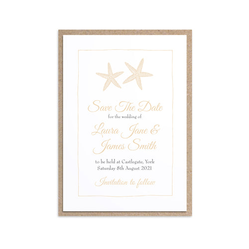 Starfish Save the Date Cards, Beach Wedding, Seaside Wedding, Wedding Abroad, Coastal Wedding, 10 Pack
