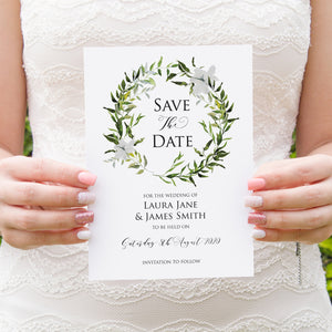 Greenery Save the Date Cards, Watercolour Foliage, Greenery, Eucalyptus, Green Wreath, Botanical Wedding, 10 Pack
