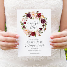 Boho Red Rose Save the Date Cards, Burgundy Invite, Red Roses, Red Wedding, Boho Floral Wedding, 10 Pack