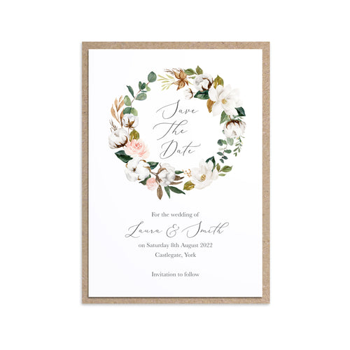 Magnolia Save the Date Cards, Ivory Floral, Boho Wedding, Cotton Wedding, Autumn Wedding, 10 Pack