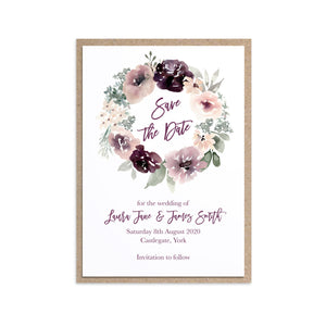 Plum Floral Save the Date Cards, Purple Wedding, Lilac, Mauve, Purple and Blush, 10 Pack