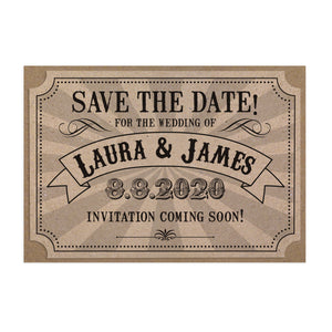 Circus Ticket Save the Date Cards, Recycled Kraft, Fun Fair, Carnival, Ticket Invitations, 10 Pack