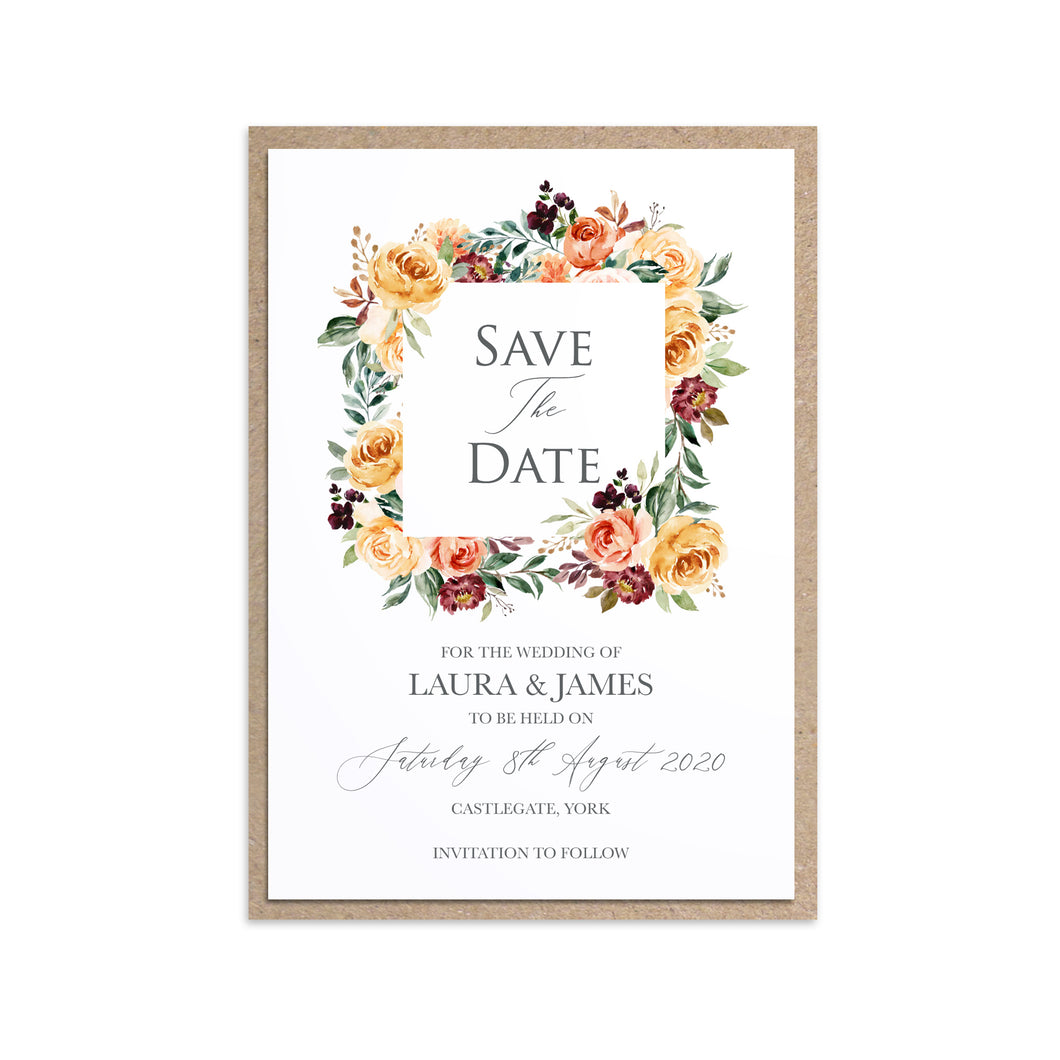 Autumn Floral Save the Date Cards, Autumn Wedding, Fall Wedding, Burgundy & Orange, Peach Wedding, 10 Pack