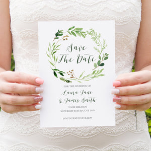 Green Leaf Save the Date Cards, Watercolour Foliage, Greenery, Eucalyptus, Green Wreath, Botanical Wedding, 10 Pack