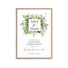 Greenery Save the Date Cards, Square Wreath, Watercolour Foliage, Greenery, Eucalyptus, Green Wreath, Botanical Wedding, 10 Pack