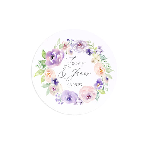 Lilac and Blush Wedding Stickers, Personalised Stickers, Purple Wedding, Lilac Wedding, Blush