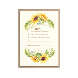 Rustic Sunflower RSVP Cards, Rustic Wedding, Country Wedding, Sunflowers, 10 Pack
