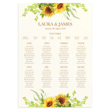 Rustic Sunflower Table Plan, Seating Plan, Rustic Wedding, Country Wedding, Sunflowers, A2 Size