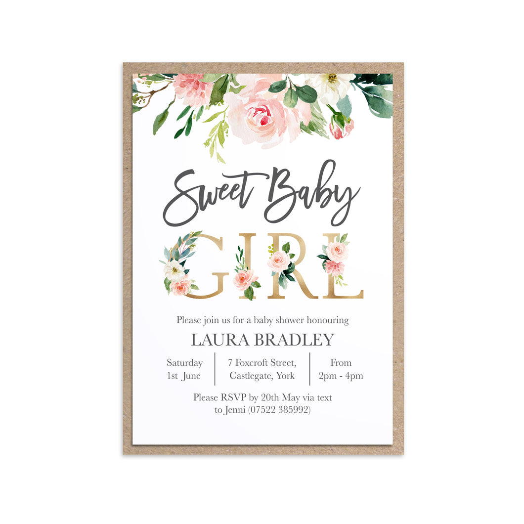 Blush Rose Baby Shower Invitations, Sweet Baby Girl, Blush Baby Shower, Blush Flowers, Blush Ivory, 10 Pack