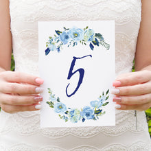 Blue Floral Table Numbers, Table Names, Blue Watercolour flowers, Baby Blue, Pastel Blue Wedding, 5 Pack