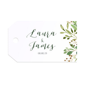 Green Leaf Tags & Twine, Watercolour Foliage, Greenery, Eucalyptus Invites, Green Wreath, Botanical Wedding, 10 Pack