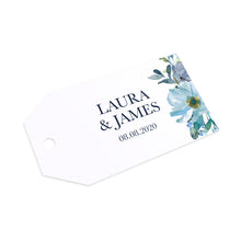 Dusky Blue Floral Tags & Twine, Blue Floral, Blue Wedding, Navy, Baby Blue, 10 Pack
