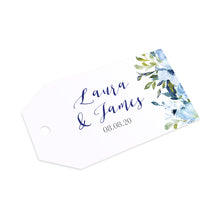 Blue Floral Tags & Twine, Blue Watercolour flowers, Baby Blue, Pastel Blue Wedding, 10 Pack