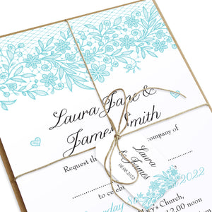 Floral Lace Tags & Twine, Wedding Lace, Lace Invitation, Rustic Wedding Invitation, Floral Wedding Invite, Barn Wedding, 10 Pack
