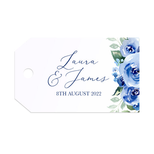 Navy Rose Tags & Twine, Watercolour roses, Navy Wedding, Blue Wedding, 10 Pack