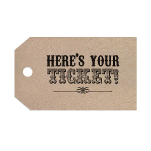 Circus Ticket Tags & Twine, Recycled Kraft, Fun Fair, Carnival, Ticket Invitations, 10 Pack