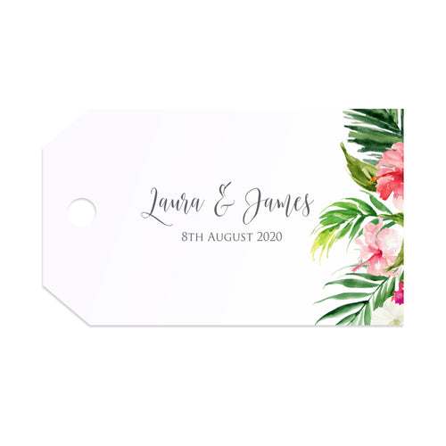 Tropical Floral Tags & Twine, Beach Wedding, Tropical Wedding, 10 Pack