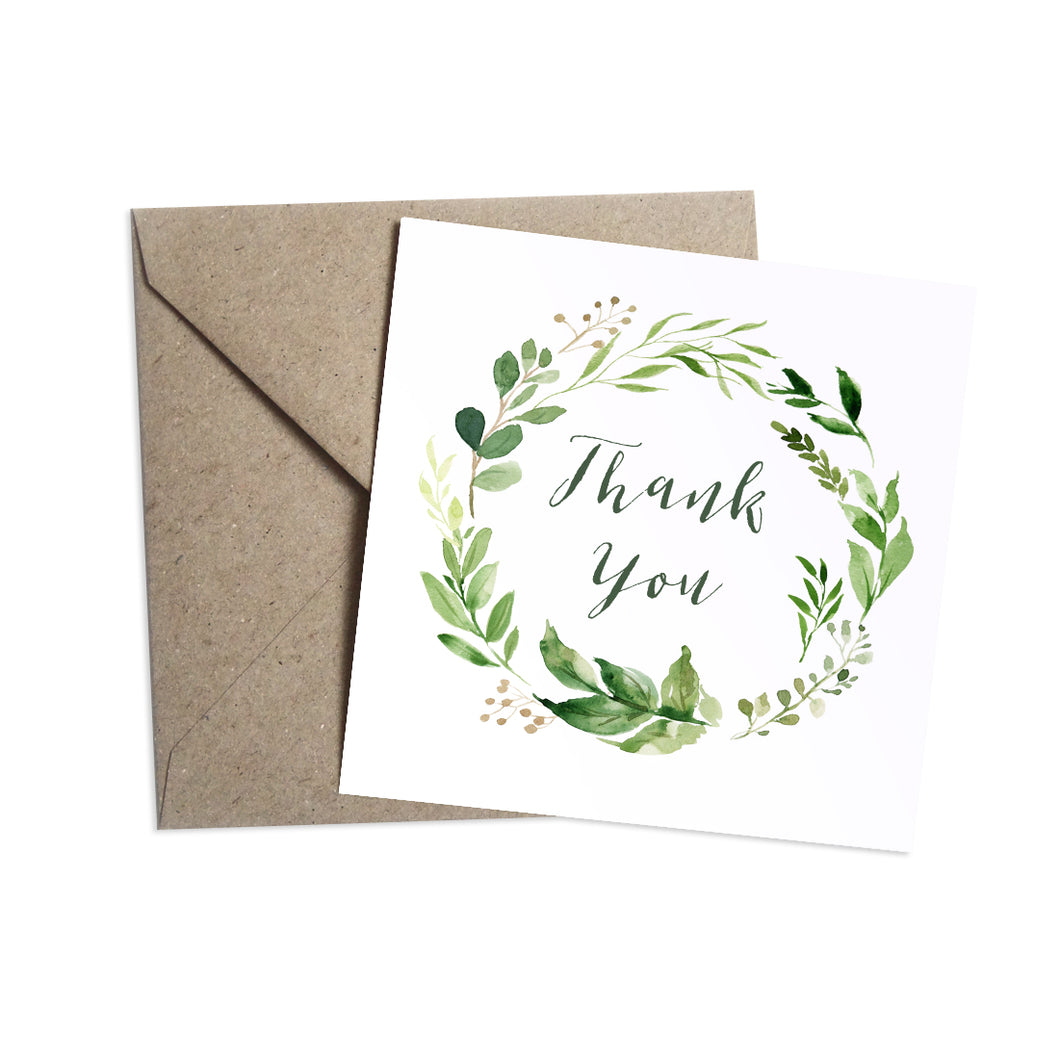 Green Leaf Thank you cards, Watercolour Foliage, Greenery, Eucalyptus Invites, Green Wreath, Botanical Wedding, 10 Pack