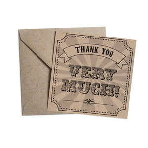 Circus Ticket Thank you cards, Recycled Kraft, Fun Fair, Carnival, Ticket Invitations, 10 Pack