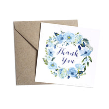 Blue Floral Thank you cards, Blue Watercolour flowers, Baby Blue, Pastel Blue Wedding, 10 Pack