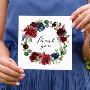 Burgundy, Navy & Blush Floral Thank you cards, Burgundy Navy Invite, Rustic Floral, Blush Wedding Invite, Boho Floral Wedding, 10 Pack
