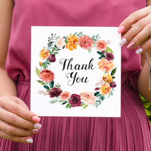 Paprika Thank you cards, Orange Floral Wedding Invitation, Autumn Wedding, Fall Wedding, 10 Pack