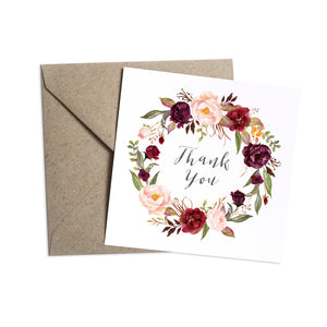 Boho Red Rose Thank you cards, Burgundy Invite, Red Roses, Red Wedding, Boho Floral Wedding, 10 Pack