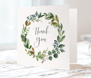 Botanical Garden Thank you cards, Watercolour Foliage, Greenery, Eucalyptus Invites, Green Wreath, Botanical Wedding, 10 Pack
