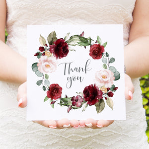 Red and Gold Thank you cards, Ruby Red, Burgundy, Blush, Red Floral, 10 Pack