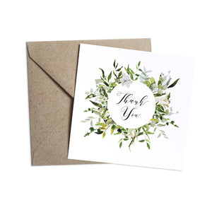Greenery Thank you cards, Round Wreath, Green Wreath, Eucalyptus Wreath, Green Leaf, Botanical Wedding, Leaf, 10 Pack