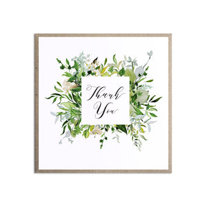 Greenery Thank you cards, Square Wreath, Green Wreath, Eucalyptus Wreath, Green Leaf, Botanical Wedding, Leaf, 10 Pack