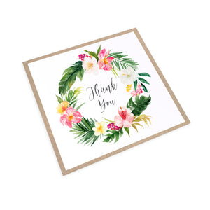 Tropical Floral Thank you cards, Beach Wedding, Tropical Wedding, 10 Pack