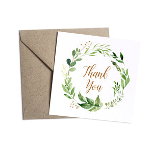 Foliage Baby Shower Thank you cards, Greenery Baby Shower, Green Leaf, 10 Pack
