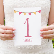 Summer Fair Table Numbers, Table Names, Bunting Invitations, Bunting Wedding, Cute Bunting, 5 Pack