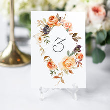 Autumn Floral Table Numbers, Table Names, Autumn Wedding, Fall Wedding, Burgundy & Orange, Peach Wedding, 5 Pack
