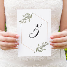 Elegant Geometric Table Numbers, Table Names, Greenery Wedding, Leaf Wedding, Foliage, 5 Pack
