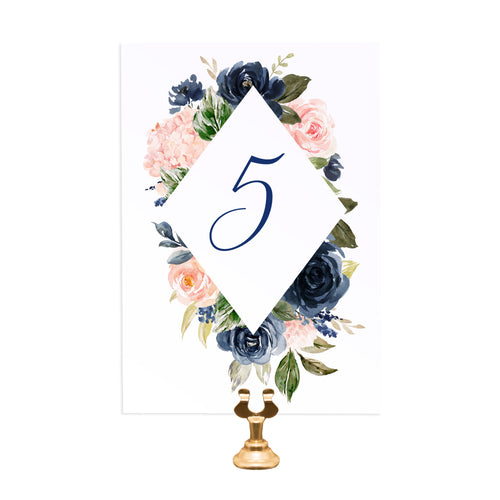 Navy and Blush Table Numbers, Table Names, Navy Floral, Navy Wedding, Watercolour Flowers, 5 Pack